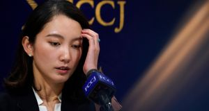 Shiori Ito at a press conference at the Foreign Correspondents' Club of Japan in Tokyo on Thursday. Photograph:  Franck Robichon/EPA