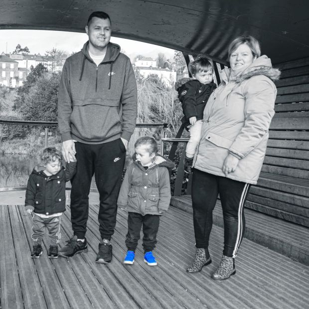 Louise O'Leary, who lives in a hub in Cork, with her partner, Alex, and children, Anthony, Shane and Aoife. Photograph: Michael Mac Sweeney/Provision