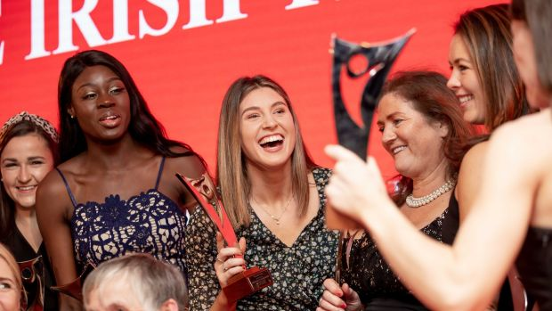 The award winners celebrate at The Irish Times/Sport Ireland Sportswoman Of The Year awards at the Shelbourne Hotel. Photograph: Morgan Treacy/Inpho
