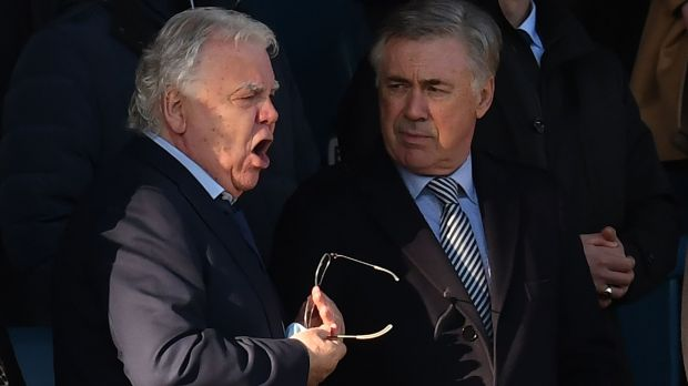 Everton's new Italian manager Carlo Ancelotti with chairman Bill Kenwright. Photograph: Getty Images