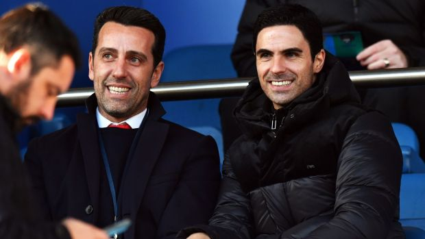 New Arsenal manager Mikel Arteta and technical director Edu in the stands at Goodison Park. Photograph: PA