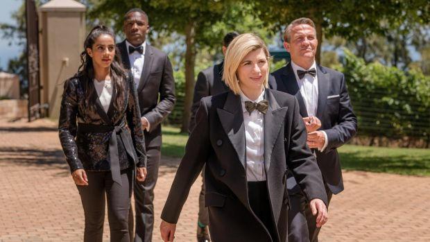 Mandip Gill, Tosin Cole, Jodie Whittaker and Bradley Walsh in Doctor Who