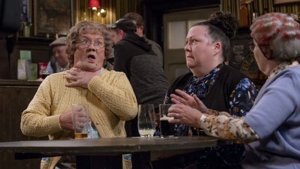 Brendan O'Carroll, Sue Vincent and Eilish O'Carroll in Mrs Brown's Boys New Year Special