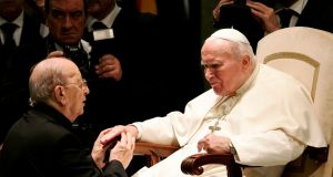 A file image from 2004 showing  Pope John Paul II (right) blessing Father Marcial Maciel, founder of the Legionaries of Christ, during a special audience at the Vatican in  2004. Photograph: Reuters