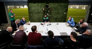Ireland head coach Andy Farrell addressing the assembled media at the  National Sports Campus, Abbotstown, Dublin. Photograph: Laszlo Geczo