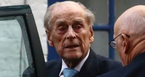 Britain's Prince Philip leaves the King Edward VIIs Hospital in London. Photograph: Hannah McKay