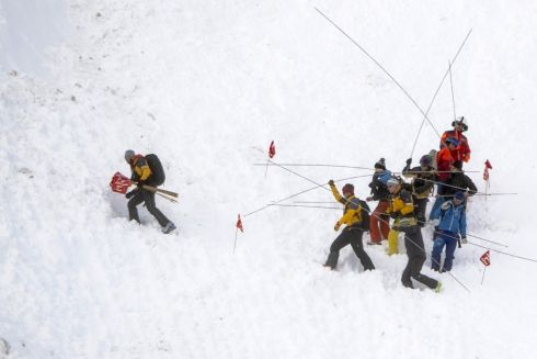 SEARCH AND RESCUE: Rescue forces and helicopters search for missing persons after an avalanche swept down a ski piste in the central town of Andermatt in canton Uri, in Switzerland on December 26th. Six people have been rescued, two of them with minor injuries but cantonal authorities fear that several other people may be buried. An extensive rescue operation is underway. Photograph: Urs Flueeler/EPA