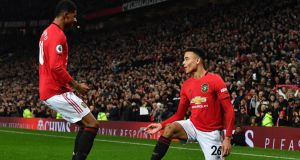 Manchester United's Mason Greenwood celebrates with Marcus Rashford after scoring against Newcastle United at Old Trafford. Photograph: Getty Images