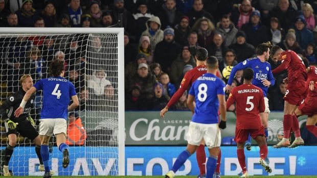 Liverpool's Brazilian attacker Roberto Firmino scores against Leicester City. Photograph: Getty Images