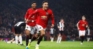 Manchester United's Mason Greenwood celebrates scoring his side's second goal of the game during the Premier League win over Newcastle. Photo: Martin Rickett/PA Wire