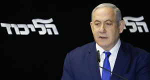 Israeli prime minister Benjamin Netanyahu has shored up his base, but he needs a big win in elections in March if he hopes to stay in office and gain immunity from prosecution. Photograph: Jack Guez/AFP