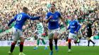 Nikola Katic celebrates scoring Rangers' winner against Celtic. Photograph: Andrew Milligan/PA