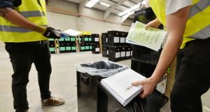 Ballot boxes in the warehouse of  Dublin City local returning officer  for  delivery to polling stations during  October 2018 elections. Photograph: Alan Betson