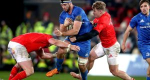 Caelan Doris offered a man-of-the-match performance for Leinster via his work on both sides of the ball. Photograph: Bryan Keane/Inpho