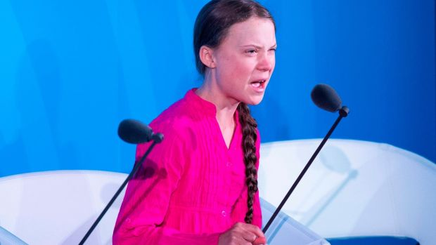 Climate activist Greta Thunberg speaks during the UN Climate Action Summit on September 23rd, 2019 at the United Nations headquarters in New York City. Photograph: Johannes Eisele/AFP/Getty Images.