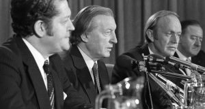 Brian Lenihan, Charles Haughey and Michael O'Kennedy at a press conference following a Haughey-Margaret Thatcher summit meeting in Dublin in December 1980. File photograph: Tom Lawlor