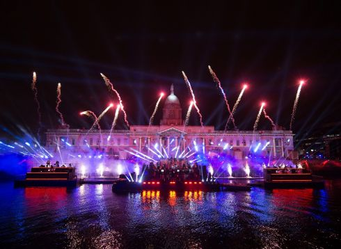Dublin: The Liffey Lights Midnight Moment, featuring dozens of musicians and a laser and light show over the Custom House, took place on New Year's Eve 2019. Photo: Dave Meehan for The Irish Times