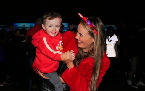 Dublin: Taylor Coughlan and Arthur Coughlan (aged 2) both from the north strand area of Dublin pictured during Liffey Lights Midnight Moment Matinee as part of New Year's Festival Dublinat the Custom House. Photo: Gareth Chaney/Collins