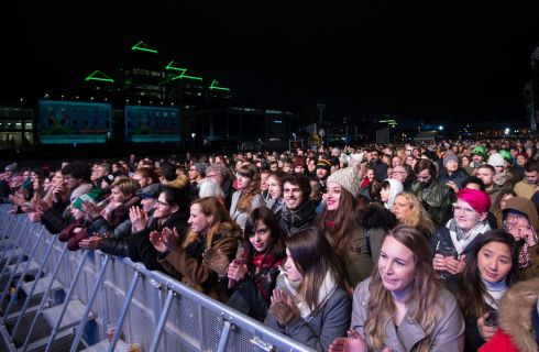 Dublin: The crowd at tonight's Countdown Concert, part of the Liffey Lights New Year's celebrations. Photo: Dave Meehan for The Irish Times
