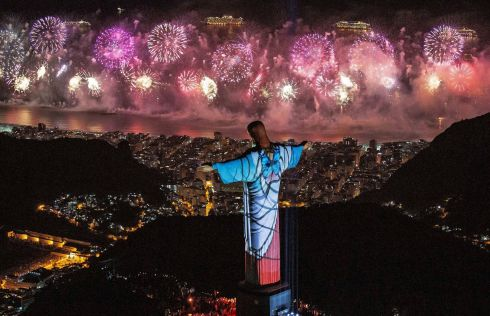 Brazil: A fireworks display behind Christ the Redeemer during New Year's Eve celebrations in Rio de Janeiro, Brazil, 01 January 2020.  Photo: EPA/FERNANDO MAIA/HANDOUT