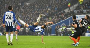 Alireza Jahanbakhsh equalises for Brighton against Chelsea. Photograph: Mike Hewitt/Getty