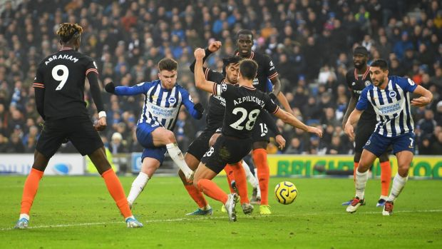 Aaron Connolly shoots during Brighton's draw with Chelsea. Photograph: Mike Hewitt/Getty