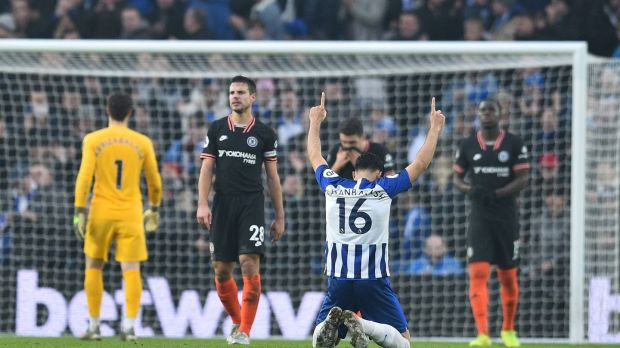 Brighton goalscorer Alireza Jahanbakhsh celebrates aftr his side draw with Chelsea. Photograph: Glyn Kirk/AFP/Getty