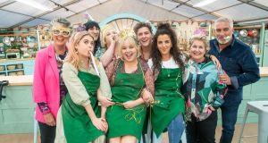 Prue Leith, Saoirse-Monica Jackson, Noel Fielding, Siobhán McSweeney, Nicola Coughlan, Dylan Llewellyn, Jamie-Lee O'Donnell, Sandi Toksvig and Paul Hollywood in the Bake Off tent. Photograph: PA