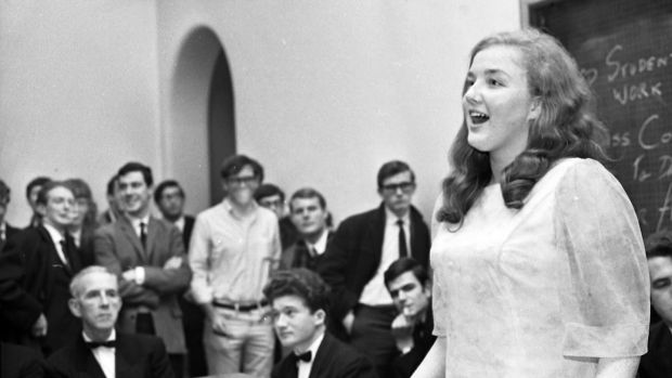 Marian Finucane talking part in The Irish Times debating competition at University College Dublin in 1968 as a student with Bolton Street College of Technology. Photograph: Tommy Collins/The Irish Times