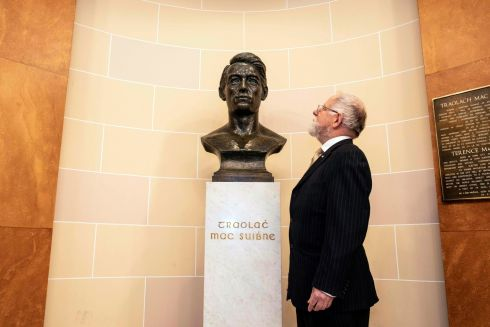 FACE HISTORY: Cathal MacSwiney Brugha, grandson of Terence MacSwiney, stands with his bust, at an event for the Decade of Centenaries programme for 2020.