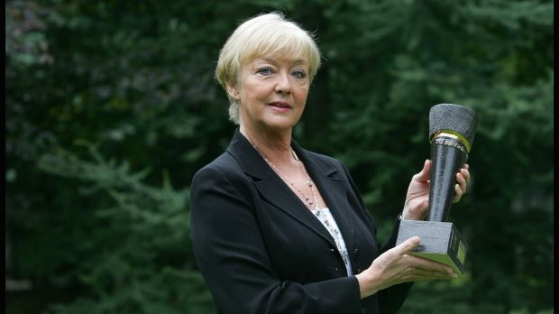 Broadcaster Marian Finucane at RTÉ with an outstanding achievemnet award from Phonographic Performance Ireland. Photograph Brenda Fitzsimons