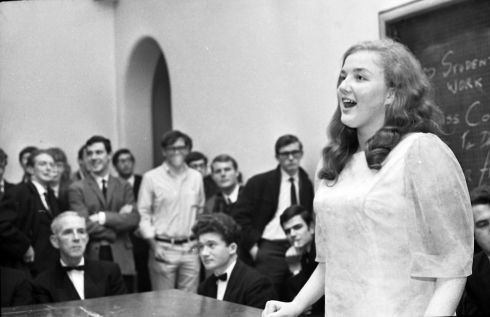 Marian Finucane takes part in a semi-final of The Irish Times debating competition in University College Dublin in 1968. Photograph: Tommy Collins/The Irish Times