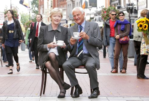 Marian Finucane and Patrick Bewley at Ireland's Biggest Coffee Morning in aid of Hospicecare at Bewley's Cafe, Grafton Street, Dublin, in 2010. Photograph: Gareth Chaney/Collins
