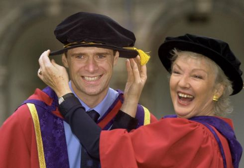 Former Irish International soccer player Niall Quinn and Marian Finucane after honorary degrees were conferred on them by DIT in Dublin in 2002. Photograph: Matt Kavanagh/The Irish Times