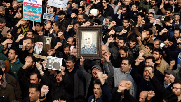 Thousands of Iranians take to the streets to mourn the death of Qassem Suleimani. Photograph: Abedin Taherkenareh/EPA