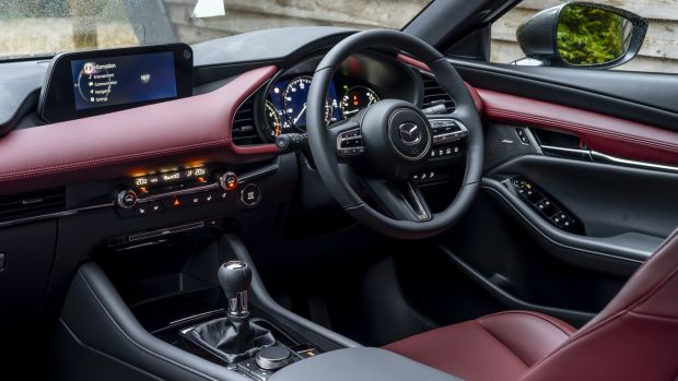 It's nice inside the Mazda 3, with a level of cabin quality that's right up there with the best, and the good thing about the saloon is that it has a flatter windowline at the back, so lets in more light for those sitting in the rear seats