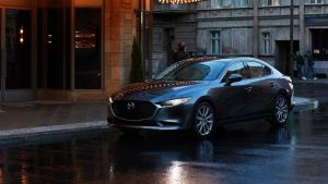 Mazda 3: the saloon certainly looks the part but its engine tech lets it down