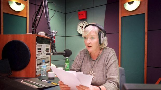 A 1999 file photograph of Marian Finucane in the studio during her first day presenting her weekend programme on RTÉ Radio One. Photograph: Dara Mac Dónaill