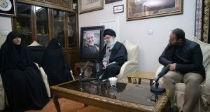Iranian supreme leader Ayatollah Ali Khamenei meeting family of    Qassem Suleimani in Tehran. The general  was killed in a targeted US strike as he left Baghdad International Airport  on Friday morning. Photograph: office of the Iranian supreme leader via AP