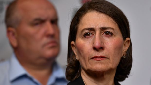 New South Wales Premier Gladys Berejiklian speaks during a press conference at the Rural Fire Service Headquarters in Sydney on Sunday. Photograph: Paul Braven/EPA