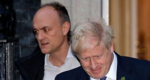 Chief adviser Dominic Cummings and British prime minister Boris Johnson.