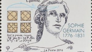 A French stamp issued to commemorate the work of Sophie Germain