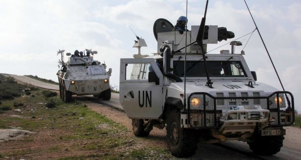 United Nations Interim Forces in Lebanon (Unifil) armoured vehicles patrol the area around the southern Lebanese town of Kfar Kila on the border with Israel on January 3rd, 2020. Photograph: Ali Dia/AFP/Getty