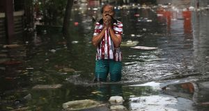 Flooding in  Jakarta, Indonesia: The world is dangerously behind in climate action, a scenario compounded by a weak outcome to the recent annual UN climate talks in Madrid. Photograph:  AP Photo/Dita Alangkara
