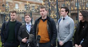 Ciaran Mac Giolla Bhein (centre) and other members of Irish language group Conradh na Gaeilge  speak to the media after meeting Northern Secretary  Julian Smith at Hillsborough Castle on Sunday. Photograph: Niall Carson/PA Wire