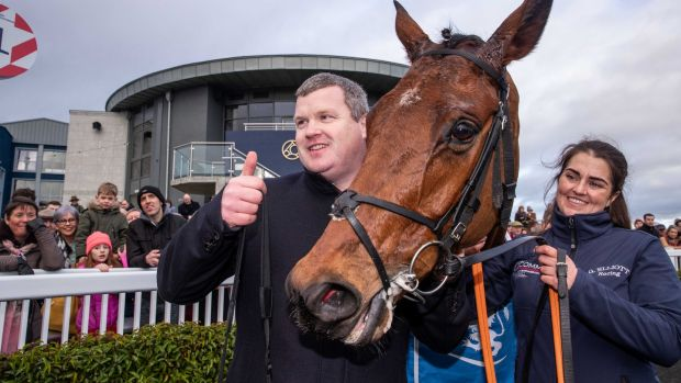 Gordon Elliott with Envoi Allen after his convincing victory in the Lawlor's Novice Hurdle at Naas. Photograph: Morgan Treacy/Inpho