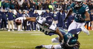 Seattle Seahawks' wide receiver DK Metcalf dives for a touchdown against the Philadelphia Eagles. Photograph: Justin Lane/EPA