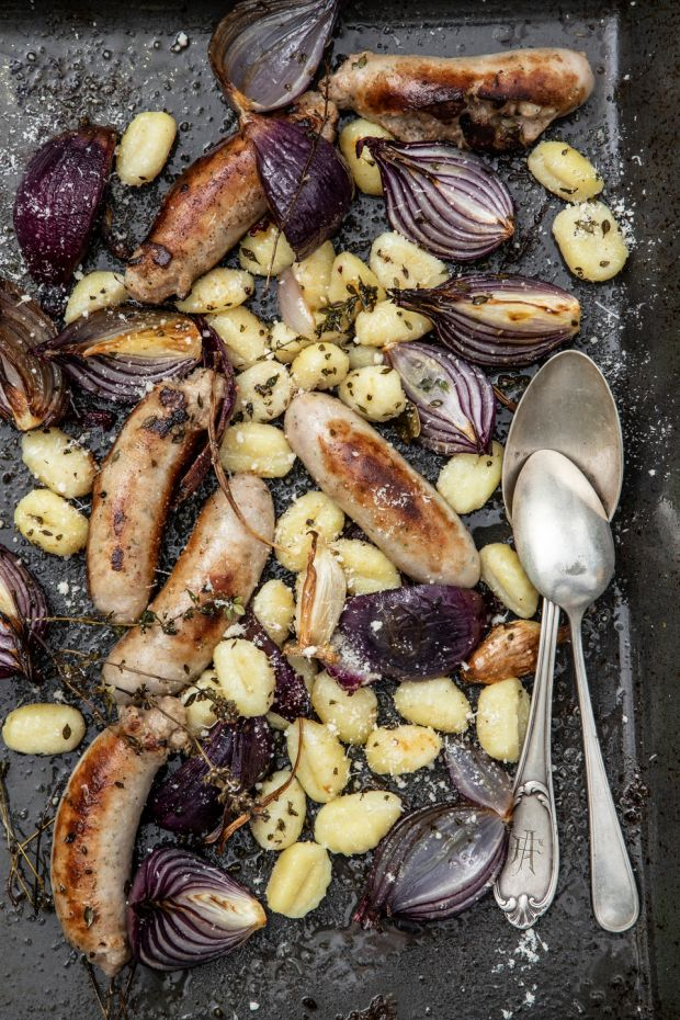 Sausage, gnocchi and red onion roast