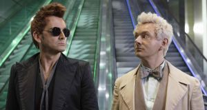 The end is nigh: David Tennant and Michael Sheen in Good Omens, Wednesday on BBC2