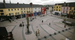 The 2004 revamp of the town square was meant to be uplifting but concerns were soon raised about how slippery it became in the wet. Photograph: Dara Mac Dónaill